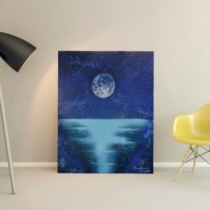 """Peinture """" Lune étoilée """" par Mounia LOUKRISS"""