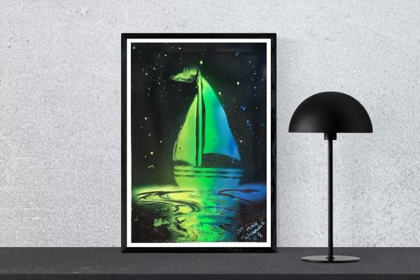 """Poster peint à la bombe """"Prendre les voiles"""""""