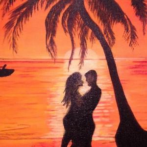 Tableau Couple au coucher du soleil aux Antilles par Mounia LOUKRISS