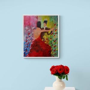 Tableau Couple qui dansent pour la St Valentin par Mounia LOUKRISS